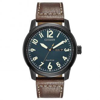 CITIZEN - Men's Military Black IP Leather Strap Watch BM8478-01L