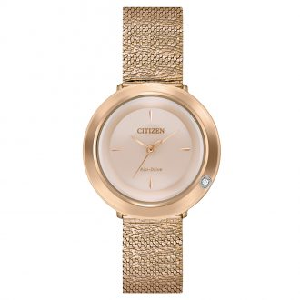 CITIZEN - L Ambiluna Rose Gold Mesh Bracelet Watch EM0643-50X