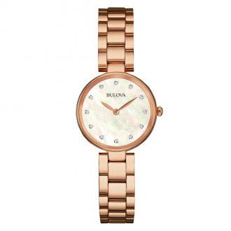 BULOVA - Classic Diamond Rose Gold Bracelet Watch 97S111