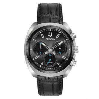 BULOVA - Curv Chronograph Leather Strap Watch 98A155
