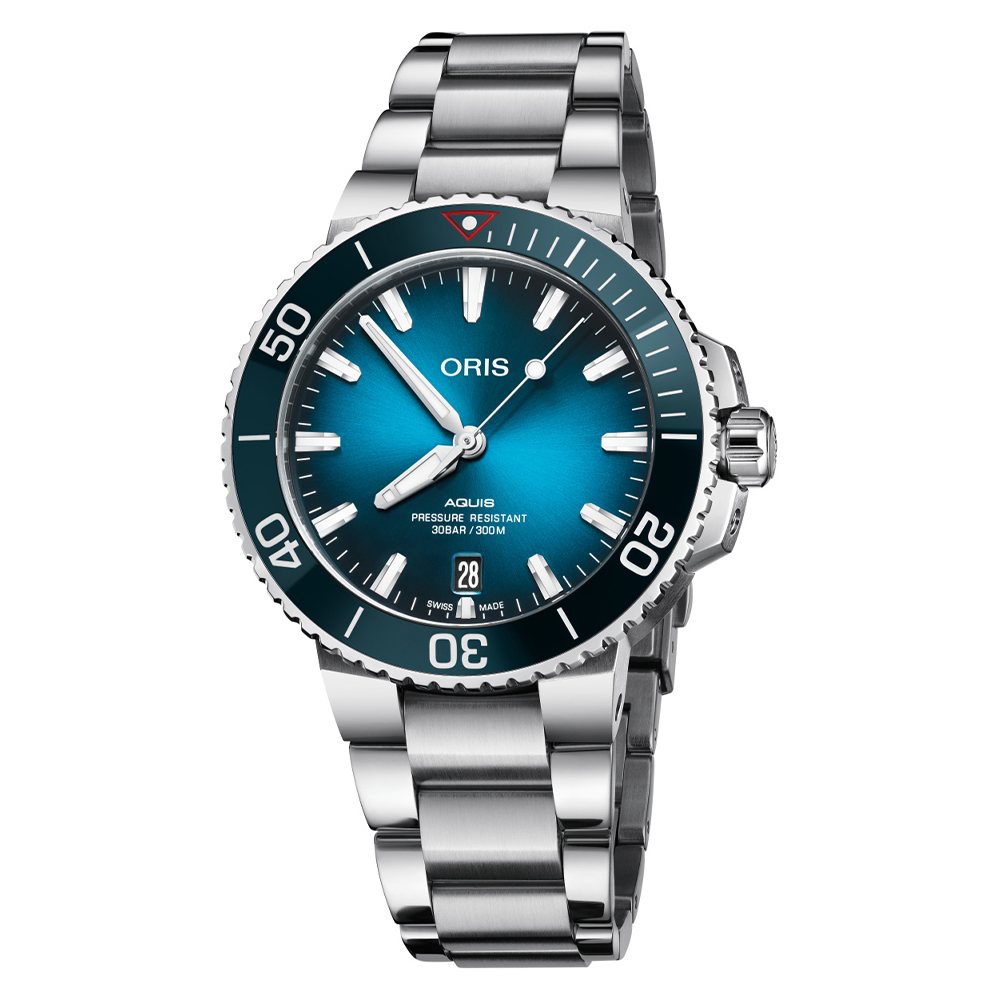 Oris Aquis Clean Ocean men's watch with blue dial and stainless steel case and bracelet model 0173377324185-0782105PEB