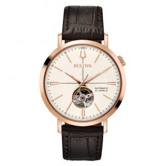BULOVA - Classic Aerojet Automatic Rose Gold Leather Strap Watch 97A136