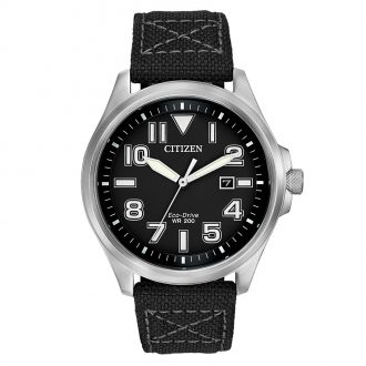 CITIZEN - Men's Military Black Strap Watch AW1410-08E