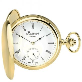 RAPPORT - Mechanical Double Hunter Gold Plated Pocket Watch PW10