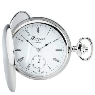 RAPPORT - Mechanical Double Hunter Silver Plated Pocket Watch PW11