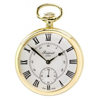 RAPPORT - Mechanical Open Face Gold Plated Pocket Watch PW22