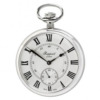 RAPPORT - Mechanical Open Face Silver Plated Pocket Watch PW23