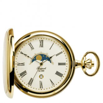 RAPPORT - Half Hunter Gold Plated Quartz Pocket Watch PW80