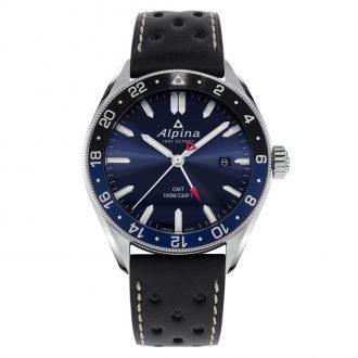 ALPINA - Alpiner Quartz GMT Blue Dial Leather Strap Watch AL-247NB4E6