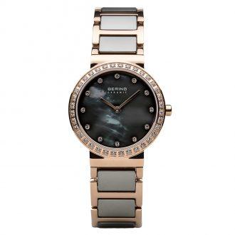 BERING - Grey Ceramic Rose Gold Tone Women's Watch 10729-769
