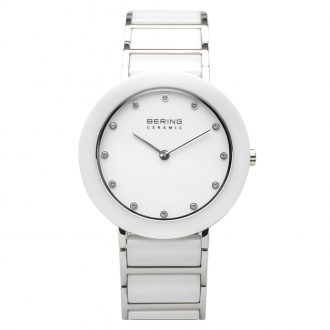 BERING - White Ceramic Silver Tone Women's Bracelet Watch 11435-754