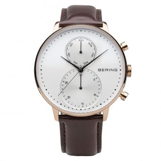 BERING - Classic Day/Date Men's Rose IP Leather Strap Watch 13242-564
