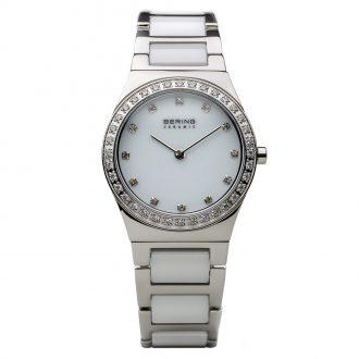 BERING - White Ceramic Polished Silver Tone Women's Watch 32430-754