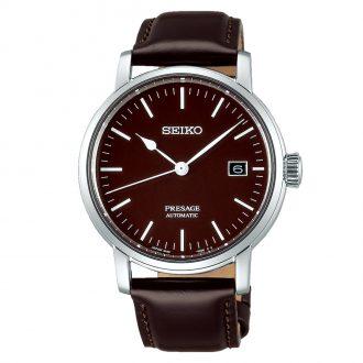 SEIKO PRESAGE - Brown Enamel Dial Leather Strap Watch SPB115J1