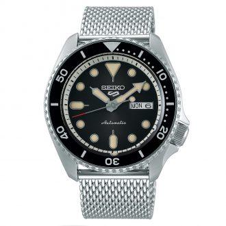 SEIKO - Seiko 5 Sports Automatic Black Dial Milanese Bracelet Watch SRPD73K1