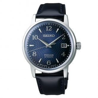 SEIKO PRESAGE - Old Clock Cocktail Time Blue Dial Automatic Watch SRPE43J1