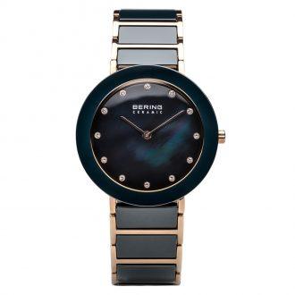 BERING - Blue Ceramic Rose Gold Tone Women's Watch 11435-767