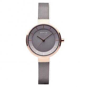 BERING - Solar Polished Rose Gold Grey Women's Watch 14631-369