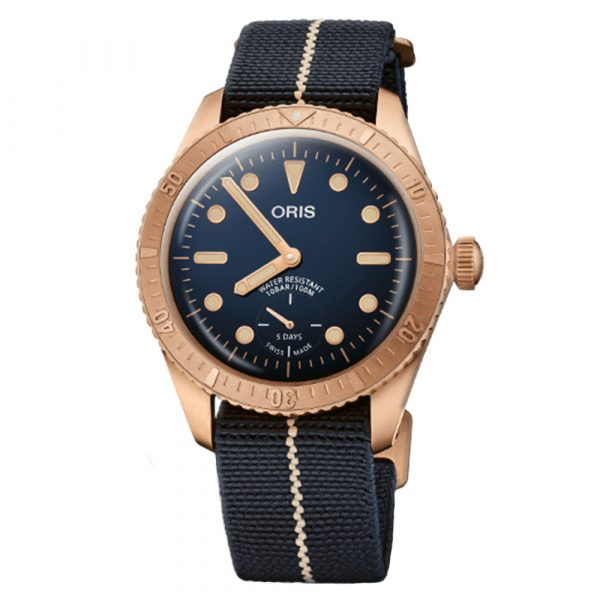 Oris Carl Brashear Calibre 401 limited edition watch with bronze case and textile strap model 0140177643185-SET
