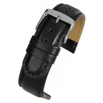 HOBSON Black Padded Calf Leather Stitched Watch Strap W100P