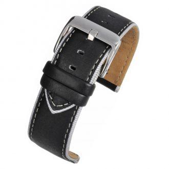 DARCY Black Contrast Edge Modern Finish Black Leather Watch Strap W180