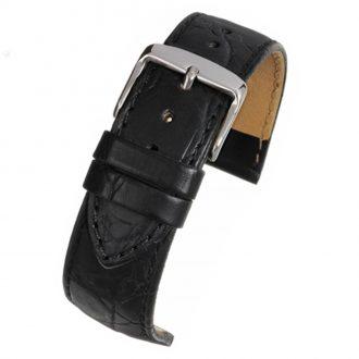 HAMPTON Black Crocodile Grain Leather Watch Strap WH500