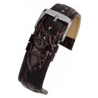 HAMPTON Brown Crocodile Grain Leather Watch Strap WH501