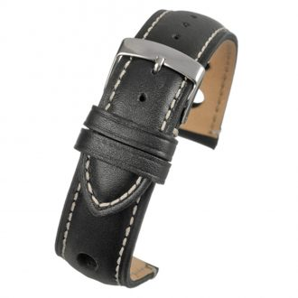 RALLY Black Rally Style Leather Watch Strap WH620