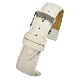 FAUX White Vegan Imitation Leather Stitched Watch Strap WH634