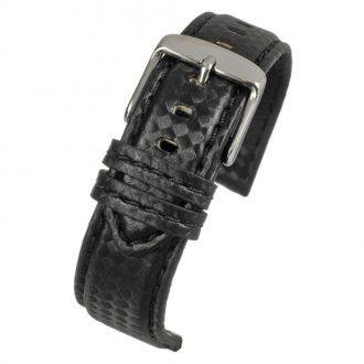 CARBON Black Carbon Fibre Grain Water Resistant Watch Strap WH640