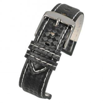 CARBON Black Carbon Fibre Grain Water Resistant Watch Strap WH644