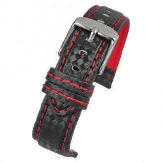 CARBON Black Carbon Fibre Grain Water Resistant Watch Strap WH647