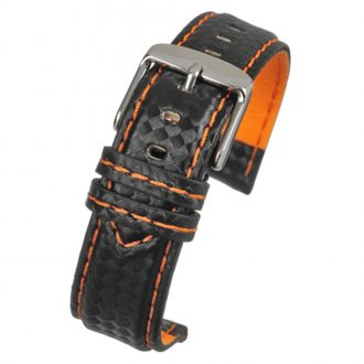 CARBON Black Carbon Fibre Grain Water Resistant Watch Strap WH648