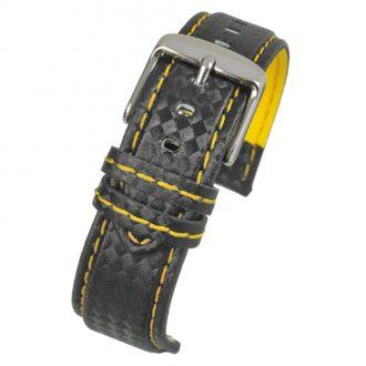 CARBON Black Carbon Fibre Grain Water Resistant Watch Strap WH649