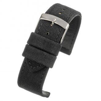 BROMPTON Black Fabric Watch Strap Stitched Edge WH660