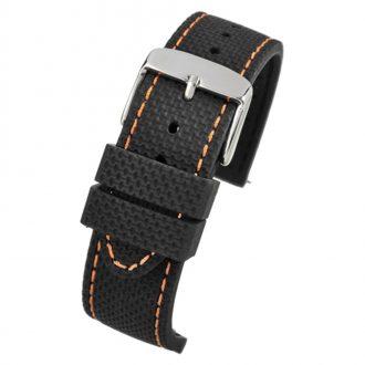 VELOCITY Black Silicone Quick Release Copper Stitch Watch Strap WH691Q