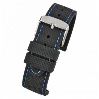 VELOCITY Black Silicone Quick Release Blue Stitch Watch Strap WH693Q