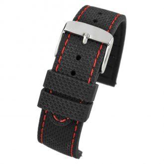 VELOCITY Black Silicone Quick Release Red Stitch Watch Strap WH697Q