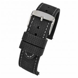 VELOCITY Black Silicone Quick Release Grey Stitch Watch Strap WH698Q