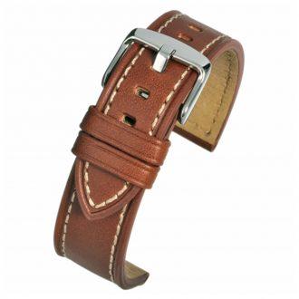 CAMBRIDGE Tan Leather Modern Cut Edge Watch Strap WH812
