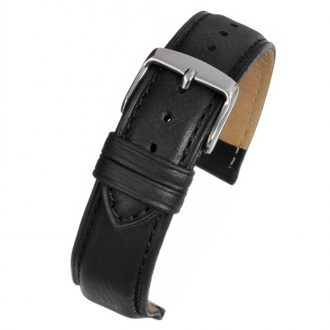 ASKEW Black Padded Leather Watch Strap WH890