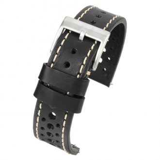 RACING Black Perforated Italian Leather Quick Release Watch Strap WR100