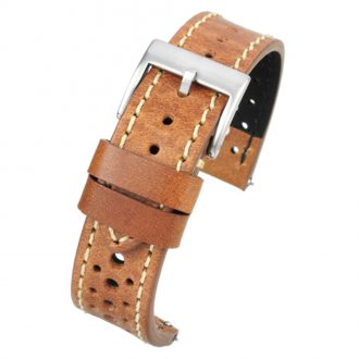 RACING Tan Perforated Italian Leather Quick Release Watch Strap WR101
