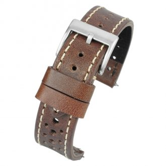 RACING Brown Perforated Italian Leather Quick Release Watch Strap WR105