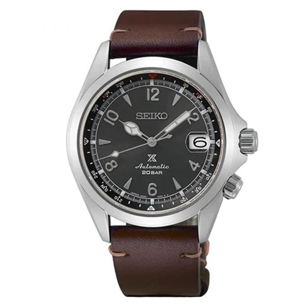 Seiko Prospex Alpinist men's limited edition automatic watch with brown leather strap model SPB201J1