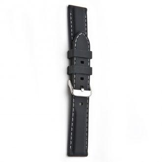REGATTA Black Silicone White Stitched Sports Watch Strap 8201