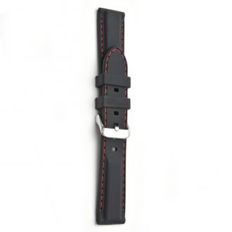 REGATTA Black Silicone Red Stitched Sports Watch Strap 8202