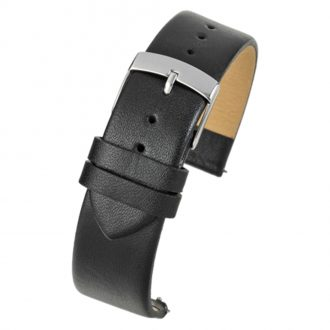 HOXTON Black Quick Release Plain Calf Leather Flat Profile Watch Strap W100Q