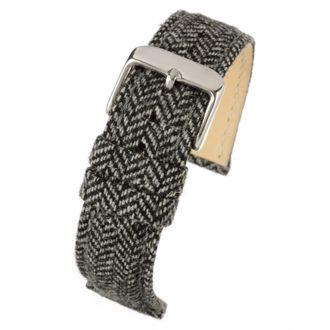 CROFT Black Wool Herringbone Watch Strap Stitched Edge WH670