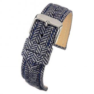 CROFT Blue Wool Herringbone Watch Strap Stitched Edge WH673